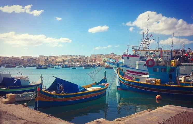 Hand painted boats in Marsaxlokk, South Malta