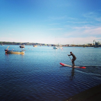 Paddle boarding in Falmouth Harbour, Cornwall